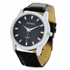 Stylish PU Band Quartz Analog Wrist Watch - Black + Silver (1 x LR626)