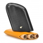 Luxury Genuine Cowhide Leather 3-Finger Cigar Holder Storage Carrying Case - Yellow + Black