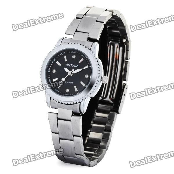 Elegant Stainless Steel Quartz Analog Wrist Watch - Black + Silver (1 x LR626) fashion stainless steel quartz analog wrist watch for women silver blue 1 x lr626