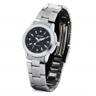 Elegant Stainless Steel Quartz Analog Wrist Watch - Black + Silver (1 x LR626)