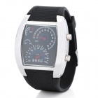 Cool Car Dashboard Design LED Wrist Watch with Blue Backlight - Black + Silver (2 x CR2016)