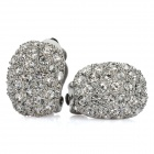 Fashion Zinc Alloy Rhinestone Earrings - Silver (Pair)