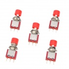 3-Pin Push Button Switches - Red + Silver (5-Piece Pack)
