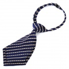 Men's Casual Short Twill Stripe Necktie - Blue + White