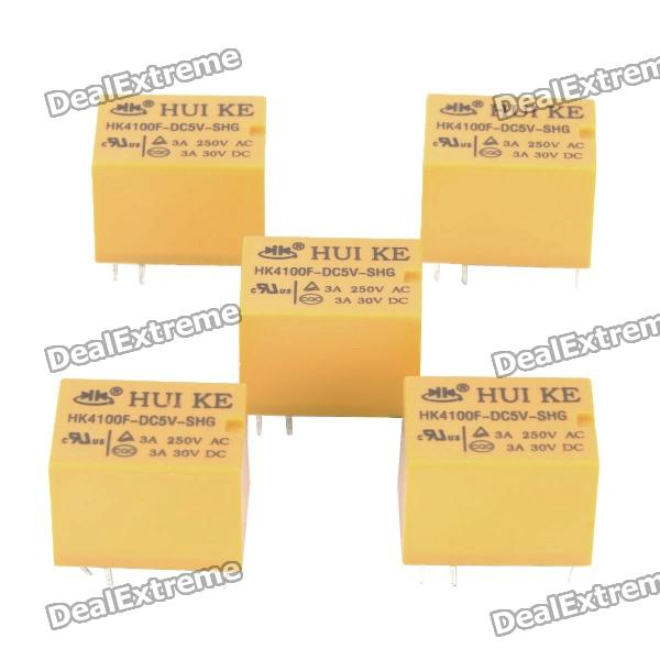 HK4100F-DC5V-SHG 6-Pin Power Relays - Yellow (5-Piece) комплектующие к инструментам super power 10 av husqvarna 137 61 66 262 266 268 272 272xp h61 266 268 272