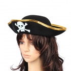 Cool Pirate Hat + Eye Patch for Halloween Cosplay Costume Party - Black