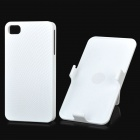 Protective Plastic Back Case w/ Rotating Swivel Clip Holder for Iphone 4 / 4S - White