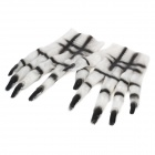 Cool Scary Devil Gloves for Halloween Cosplay Costume Party - White + Black (Pair)