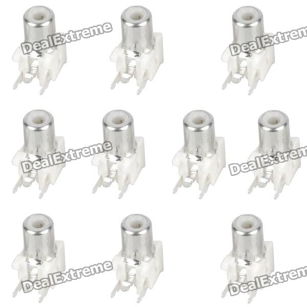 DIY Parts RCA Socket Connectors - White + Silver (10-Piece Pack)