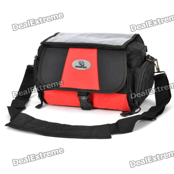 Outdoor Rainproof Bike Bicycle Front Camera Carrying Bag - Black + Red - DXBike Bags<br>Brand roswheel Model 11429 Quantity 1 Color Red + black Material 450D + PVC Functions Rainproof bike camera bag Best Use Multisport Gender Unisex Packing List 1 x Bike camera bag 1 x Rainproof pouch 1 x Strap (120cm) 1 x Fixing accessory<br>