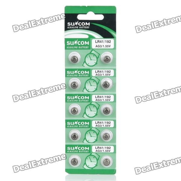 Suncom 1.55V AG3 / LR41/192 Cell Batteries (10-Piece Pack) goop cr2025 3v lithium cell button batteries 5 x 10 pcs