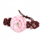 Fashion Ceramic Flower Style Braided Bracelet Wristband - Pink + Brown