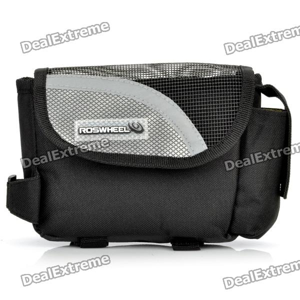 Outdoor Bike Bicycle Upper Tube Bag - Silver + Black roswheel outdoor cycling bike top tube triangle bag green
