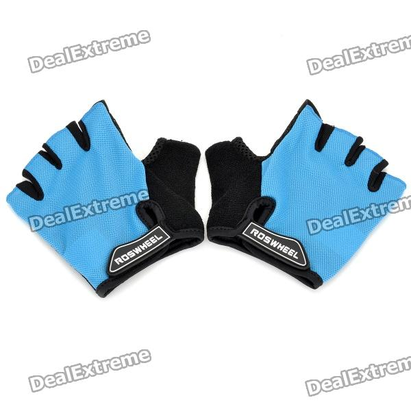 Outdoor Cycling Riding Half Finger Gloves with Protective Pad - Blue + Black (Pair/Size-M) spakct cool006 knuckle riding cycling gloves black white red xl 21cm