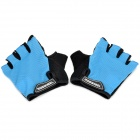 Outdoor Cycling Riding Half Finger Gloves with Protective Pad - Blue + Black (Pair/Size-L) 