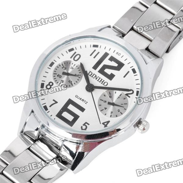 Fashion Quartz Wrist Watch for Women - Silver + White (1 x LR626) arabic numbers dial design women s fashion watch stainless steel ultra thin silver women quartz watches bgg brand horloge saat