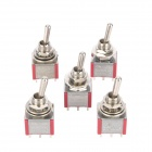 Electrical Power Control Toggle Button Switch - Red + Silver (5-Piece Pack)