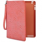 360 Degree Rotating Swivel Protective PU Leather Case for Ipad 2 / The New Ipad - Orange + Pink