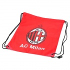 AC Milan Club Logo Football Drawstring Closure Carrying Bag - Red