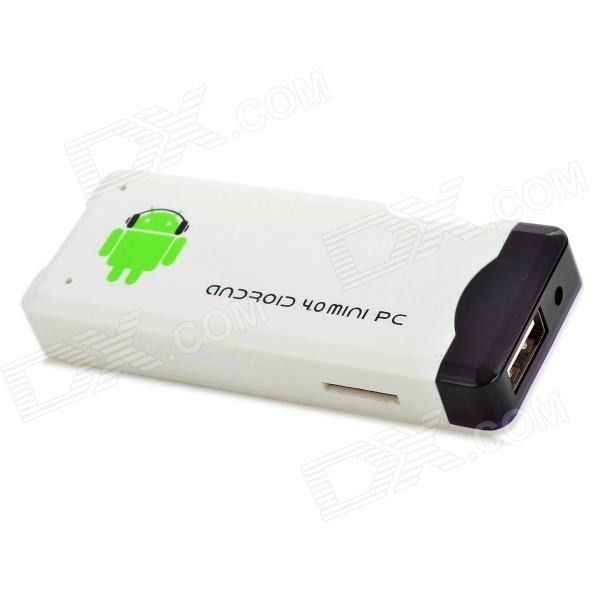 Android 4.0 Mini PC Google TV Player w/ WiFi / Allwinner A10 Cortex A8 / TF / HDMI - White (4GB)