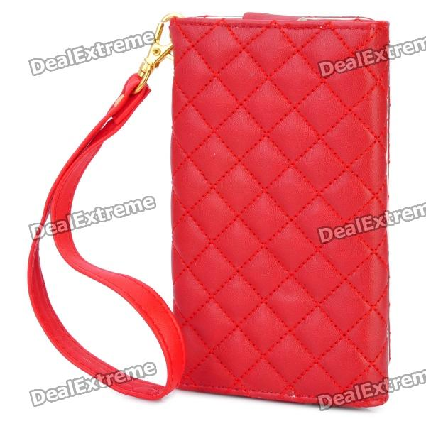Checked Pattern Wallet Style Protective PU Leather Case for Iphone / Ipod + More - Red circle pattern protective pu leather case w strap for iphone 4 5 4s red