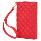 Checked Pattern Wallet Style Protective PU Leather Case for iPhone / iPod + More - Red
