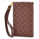 Checked Pattern Wallet Style Protective PU Leather Case for iPhone / iPod + More - Brown