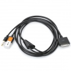 USB 2.0 Data / Charging Cable w/ 3.5mm Audio Plug for iPhone 4 / 4S / iPad 2 / The New iPad - Black