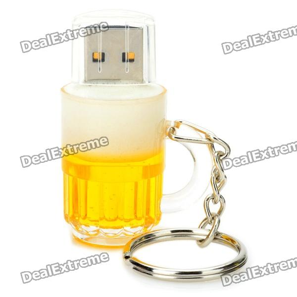 Beer Mug Style USB 2.0 Flash Drive - Yellow + White (8GB)