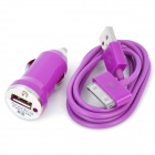 Car Cigarette Powered Adapter/Charger w/ 90cm-Length USB Cable - Purple