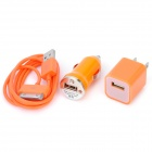 USB Data & Charging Cable + Car Charger + US Plug Power Adapter for iPhone 4 / 4S - Orange