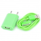 USB Data & Charging Cable + EU Plug Power Adapter for iPhone 4 / 4S - Green