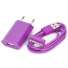 USB Data & Charging Cable + EU Plug Power Adapter for iPhone 4 / 4S - Purple