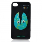 Breaking Olympic-Themed Egg Pattern Protective Plastic Back Case for iPhone 4 / 4S - Black + Blue