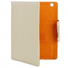 KALADENG Wallet Style Protective PU Leather Flip Open Case for Ipad 2 / The New Ipad - Beige