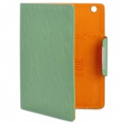 KALADENG Wallet Style Protective PU Leather Flip Open Case for Ipad 2 / The New Ipad - Deep green