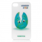 Breaking Olympic-Themed Egg Pattern Protective Plastic Back Case for iPhone 4 / 4S - White + Blue