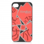 London 2012 w/ Sports Logos Pattern Protective Plastic Back Case for iPhone 4 / 4S - Red + Black
