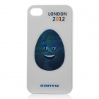 Smiling Olympic-Themed Egg Pattern Protective Plastic Back Case for iPhone 4 / 4S - White + Blue