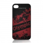 Fashion London 2012 Olympic Theme Protective Plastic Back Case for iPhone 4 / 4S -Black + Red