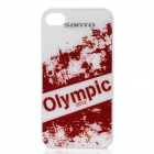 Fashion London 2012 Olympic Theme Protective Plastic Back Case for iPhone 4 / 4S - White + Red
