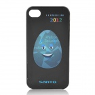 Smiling Olympic-Themed Egg Pattern Protective Plastic Back Case for iPhone 4 / 4S - Black + Blue
