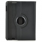360 Graus Rotatable Proteção PU Leather Stand Case para iPad 2 / The New Ipad - Preto