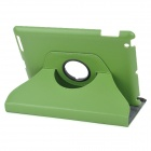 Executive Lichee Pattern Protective PU Leather Case for Ipad 2 / The New Ipad - Green