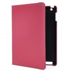 Executive-Lichee Pattern Protective PU Leather Case für iPad 2 / dem neuen iPad - Deep Pink