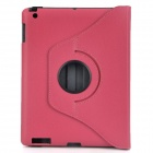 Executive Lichee Pattern Protective PU Leather Case for Ipad 2 / The New Ipad - Deep Pink
