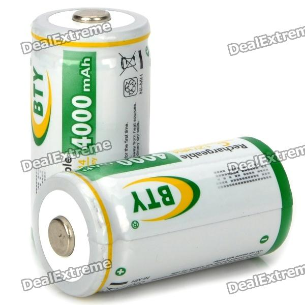 BTY 4000mAh 1.2V HR14 Rechargeable Ni-MH Battery - White + Green (2-pack) 3 6v 2400mah rechargeable battery pack for psp 3000 2000