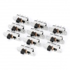 8-Pin Slide Switch DIY Parts - Black + Silver (10-Piece Pack)