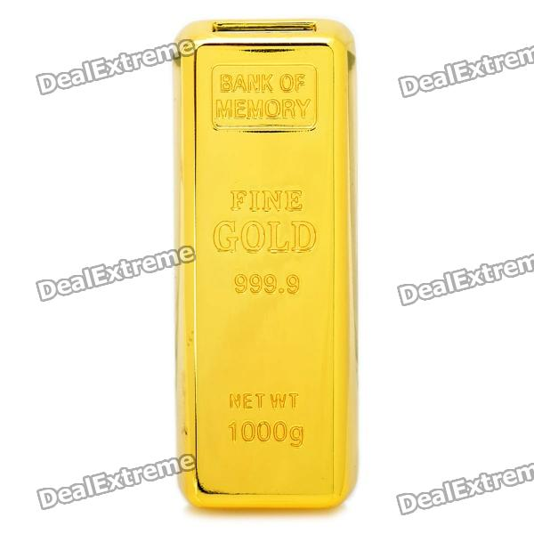Gold Bar Style USB 2.0 Flash Drive - Golden (4GB)