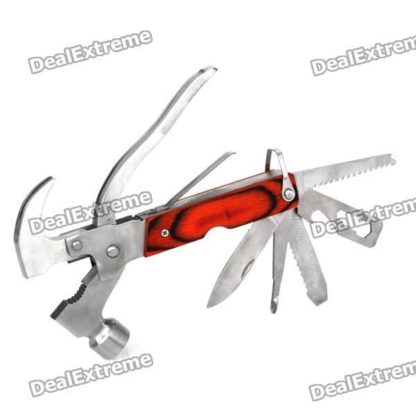 8-in-1 Stainless Steel Multi Tool Hammer - Red + Silver stainless steel cuticle removal shovel tool silver